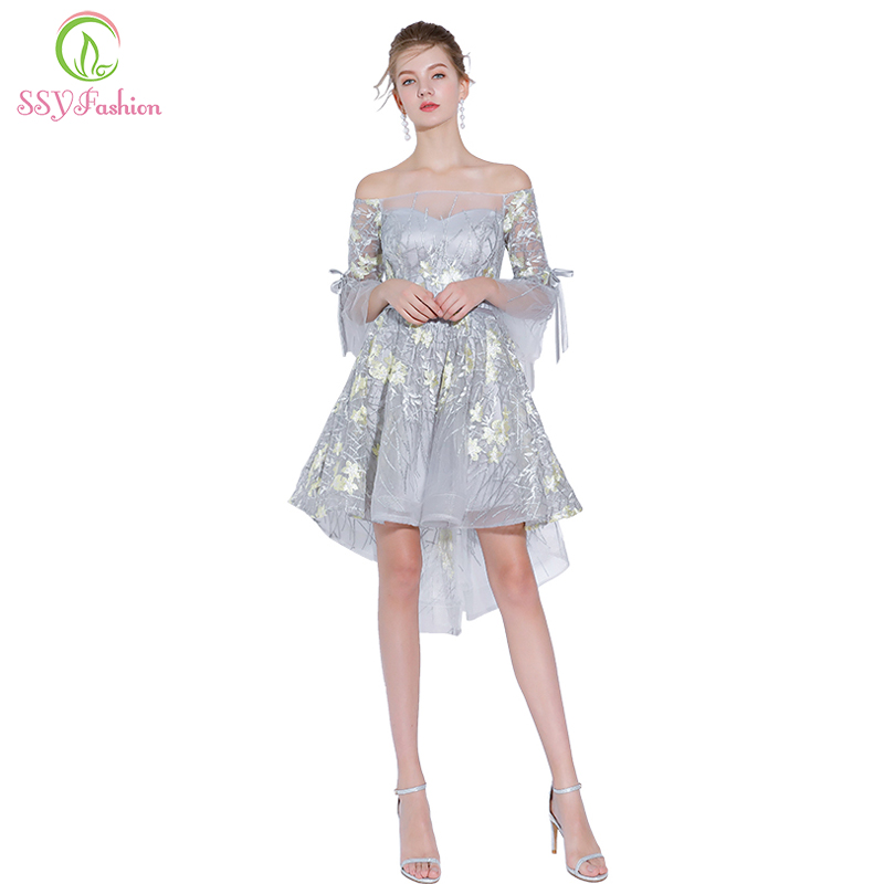 SSYFashion New Lace   Cocktail     Dress   Boat Neck Half Sleeved Short Front Long Back Asymmetry Grey Party Gown Custom Formal   Dresses