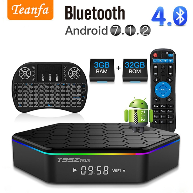 T95Z Plus 3G 32G Amlogic S912 Octa Core Andorid 7.1 TV BOX 2.4G/5GHz WiFi BT4.0 4K H.265 Smart Box Media Player MXQ TV Box pro cute cartoon pattern flip open pu case w holder card slot for iphone 5 5s pink