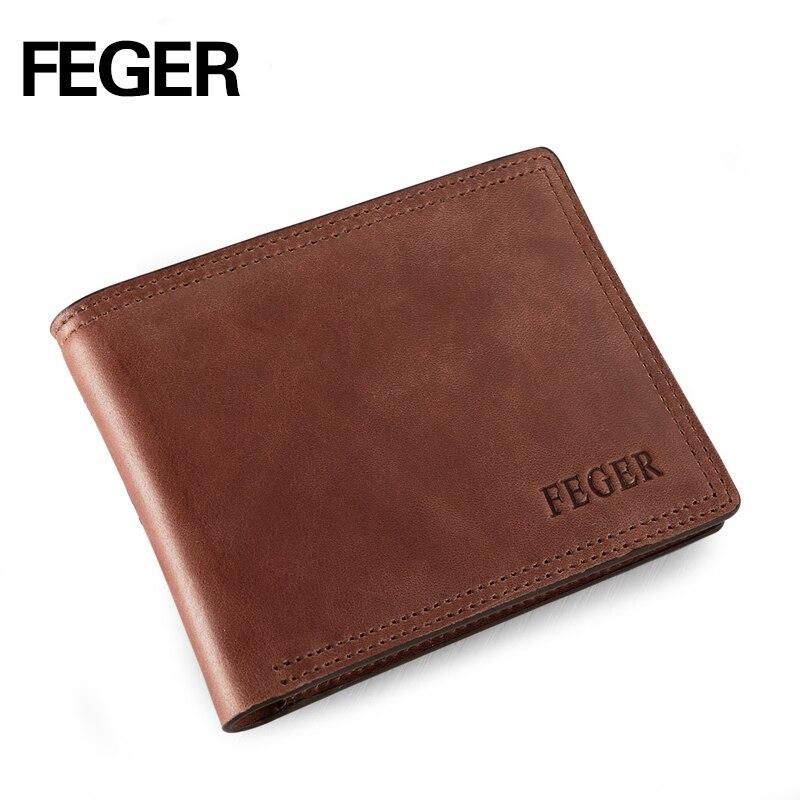 FEGER Brand Men Wallets genuine Leather Purse Solid Short Card Holder Wallet for Gentlemen Free Shipping italians gentlemen пиджак