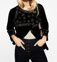 2017 Spring Black EMBROIDERED STARS sequins VELVET JACKET round neck and long sleeves Crossover front Bow pompoms detail coats