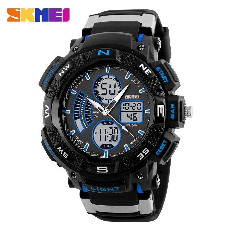 Relojes deportivos SKMEI cronógrafo para hombre alarma electrónica a prueba de agua reloj de pulsera de cuarzo Digital con doble pantalla de tiempo relogo Masculino
