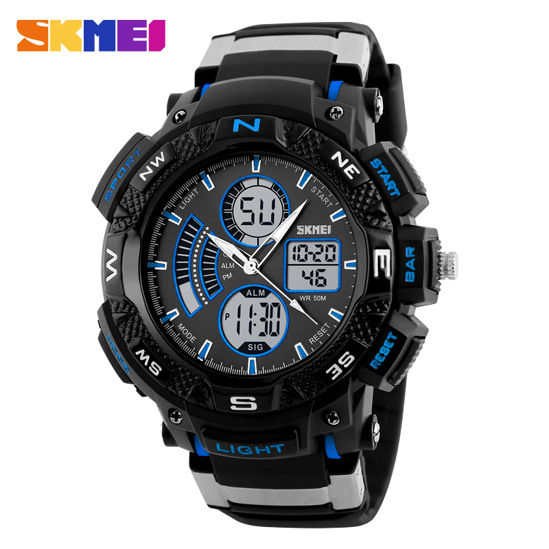 SKMEI Sports Watches Men Chronograph Electronic Waterproof Alarm Digital Quartz Dual Time Display Wristwatches Relogio Masculino