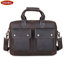 Vintage Genuine Leather Men's Casual Handbag Personality Business Bag Cowhide Briefcase Fit For 14 Inch Laptop PR571123