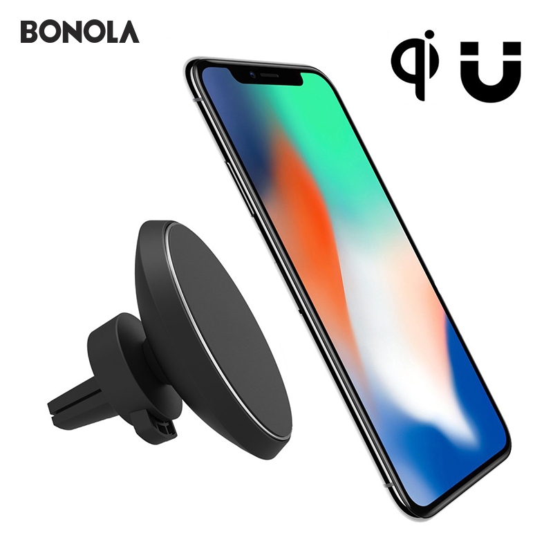 QI Magnetic Car Phone Wireless Charge 360 Degree Rotation Air Vent Holder Magnet Mount For Samsung S8 S8 Plus S7 Edge S7  держатель для смартфона с функцией беспроводной зарядки