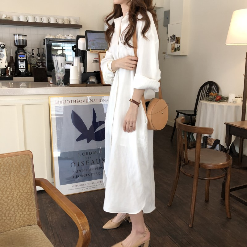 Blue Long Sleeve Long Shirt Dress Spring Casual Patchwork White cotton Dresses Collar Buttons Loose Dresses Robe Femme Vestido 29
