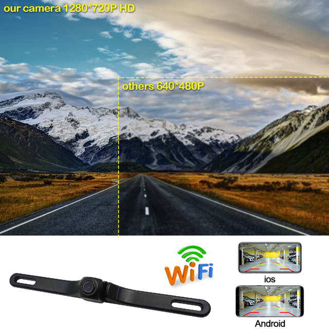 Car wifi rear view camera license plate frame night vision for iphone/ios android wireless 640*480px