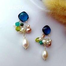 SINZRY 925 srebro słodkowodne perły z kamienia naturalnego shinning eleganckie kolorowe lato spadek kolczyki dla kobiet