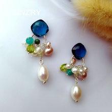 SINZRY 925 sterling zilver zoetwater parel natuursteen shining elegante kleurrijke zomer oorbellen voor vrouwelijke