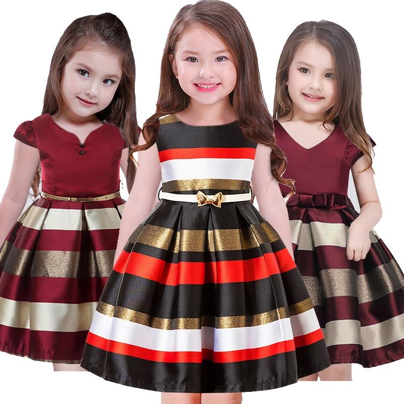 2018 Summer Stripe Birthday Party Dresses For Girls Flower Princess Dress Children Sleeveless Girls Dress clothing Robe fille