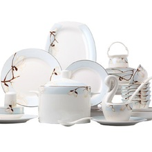Bone china tableware bowl  dish set Household European creative and combination Chinese Jingdezhen ceramic