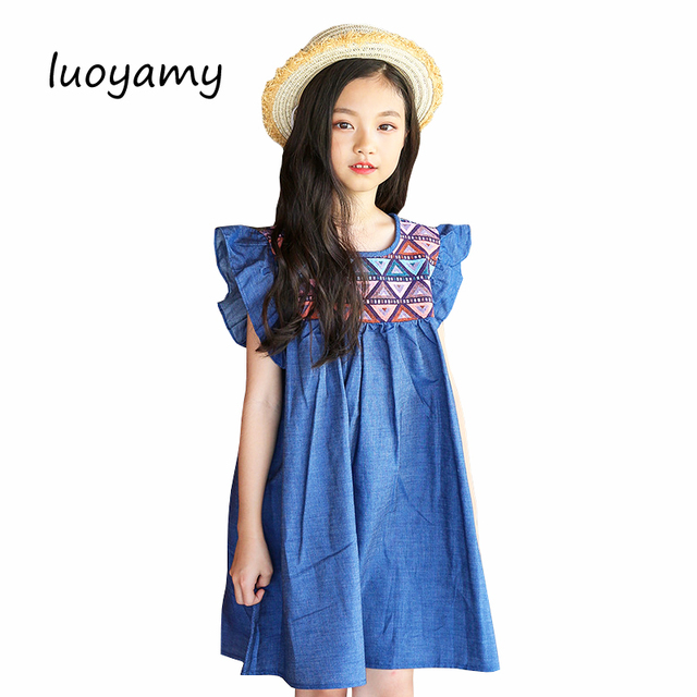 luoyamy 2018 New Blue Cotton Dresses For Girls Baby Beach Bohemian  Patchwork Clothes Girls Summer Party Princess Dress 369706e980be