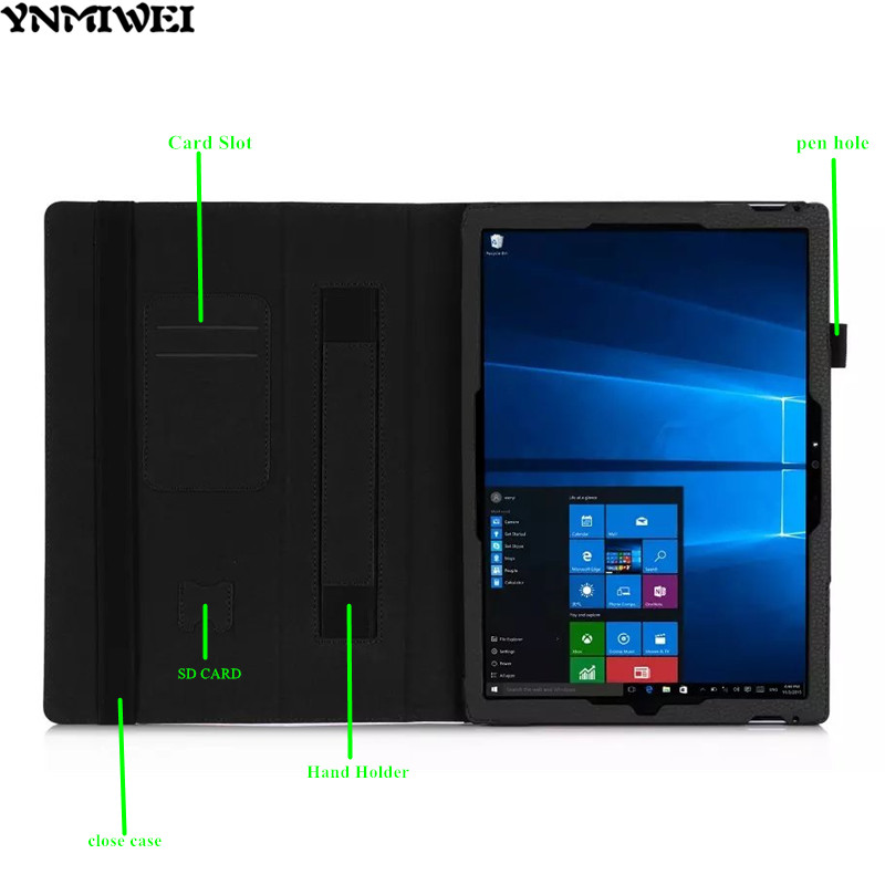 Ynmiwei For Surface pro 4 case Lichee Pattern PU Leather cases for Microsoft Windows Surface pro4 12.3 inch tablet cover +films