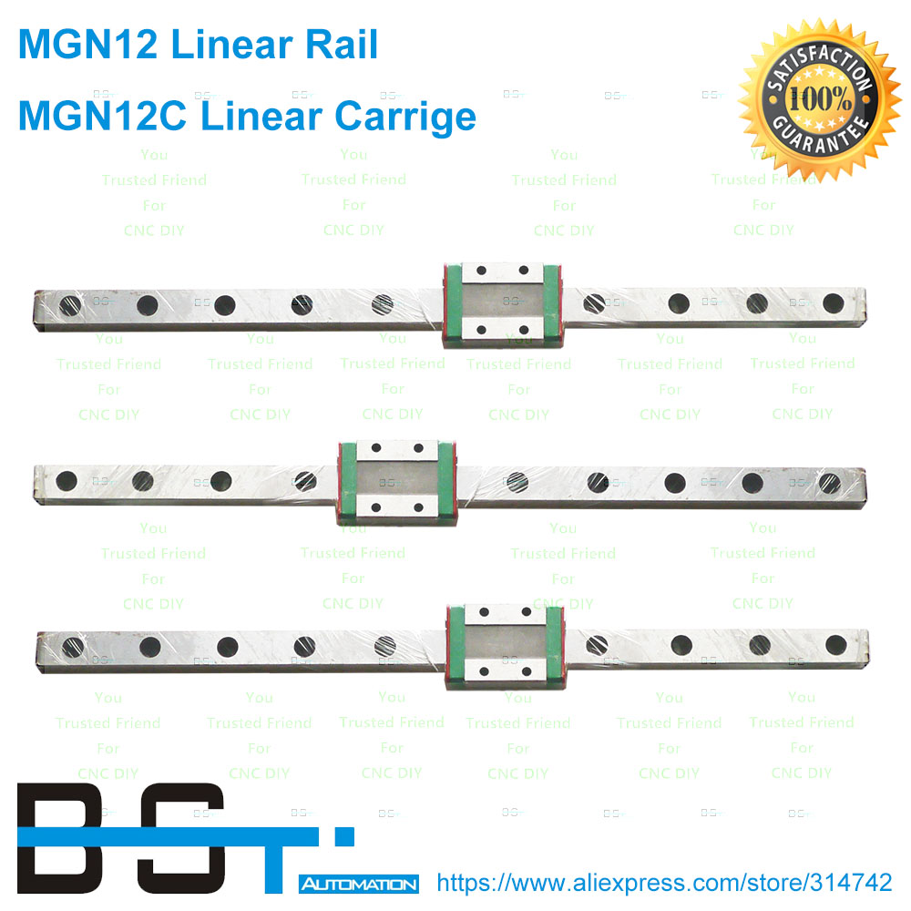 BSTMOTION MR12 12mm linear rail guide MGN12 with mini MGN12C linear block carriage miniature linear motion