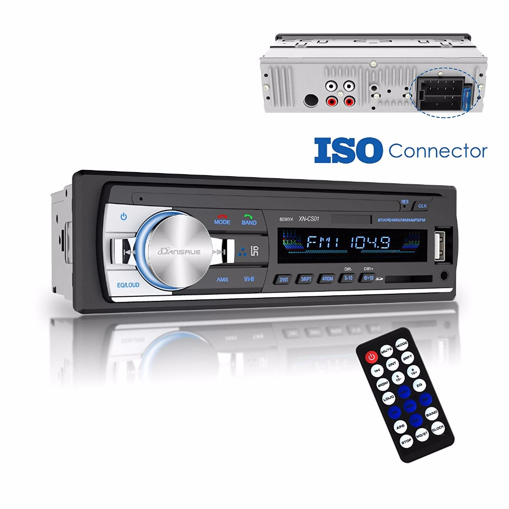 1PC 2018 NEW Car Radio Bluetooth Receiver 1din Stereo Radio Adapter Tape Recorder In Dash Digital FM Tuner Radio Pioneer 60wx4