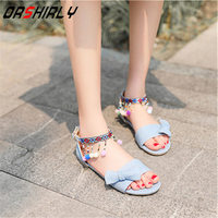 Women Sandals Plus Size New Fashion Buckle Strap Beading Flats Heel Blue Denim Butterfly knot Ethnic style Woman Shoes