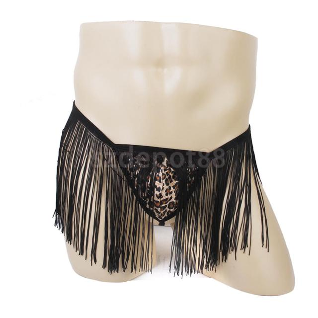 3bd61855c78410 New Arrivals 201 Sexy Men's Leopard Print G-String Thong Underwear Panty  Tassel Boxer Black