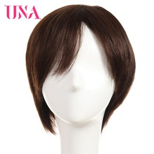 UNA Non-Remy Indian Straight Short Human Hair Wigs For Women 150% Density Color #1 #1B #2 #4 #27 #30 #33 #99J #BUG #350 #2/33 цена