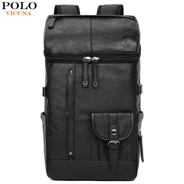 561bbd39ab3b6 فيكونيا بولو عالية قدرة كبيرة رجل حقيبة السفر حقيبة جلد أسود رجل على ظهره  لرحلة محمول