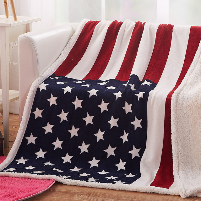 sherpa blanket USA UK Flag Print Flannel Coral Fleece Thick Throw Soft Warm  Plaid Throw Sofa Plaid Lamb Blankets On The Couch cf0081839