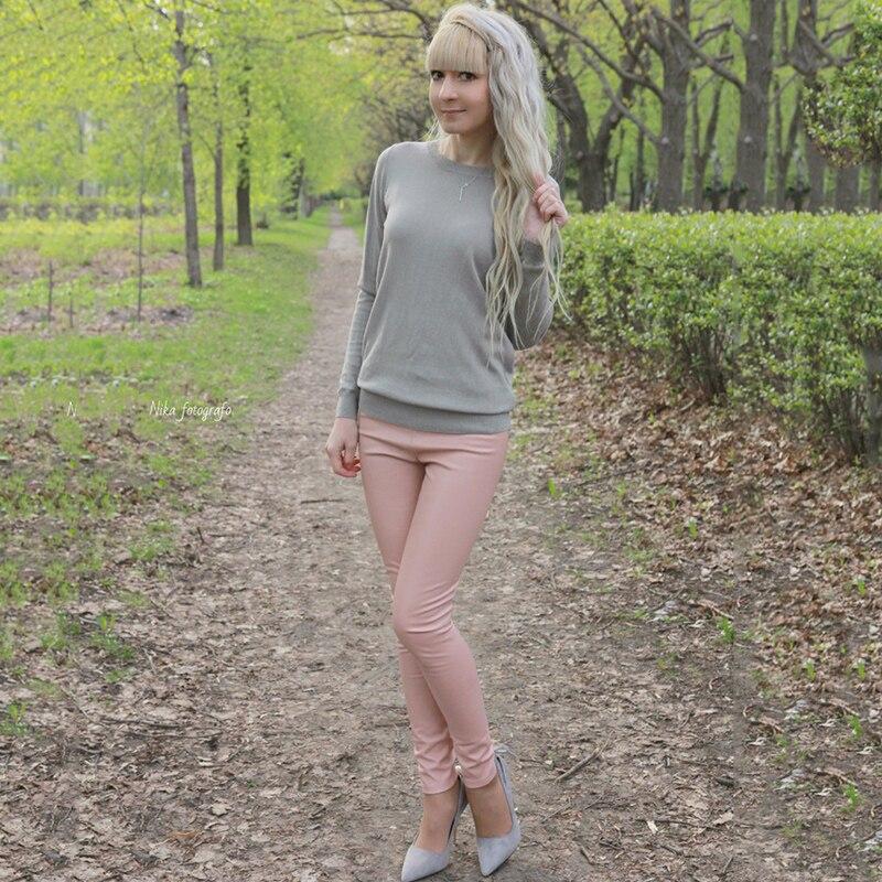 Image 4 - 2019 Утепленные зимние женские брюки из искусственной кожи с высокой талией, эластичные флисовые Стрейчевые узкие женские брюки карандаш, обтягивающие брюки, 25 цветов-in Штаны и капри from Женская одежда on AliExpress