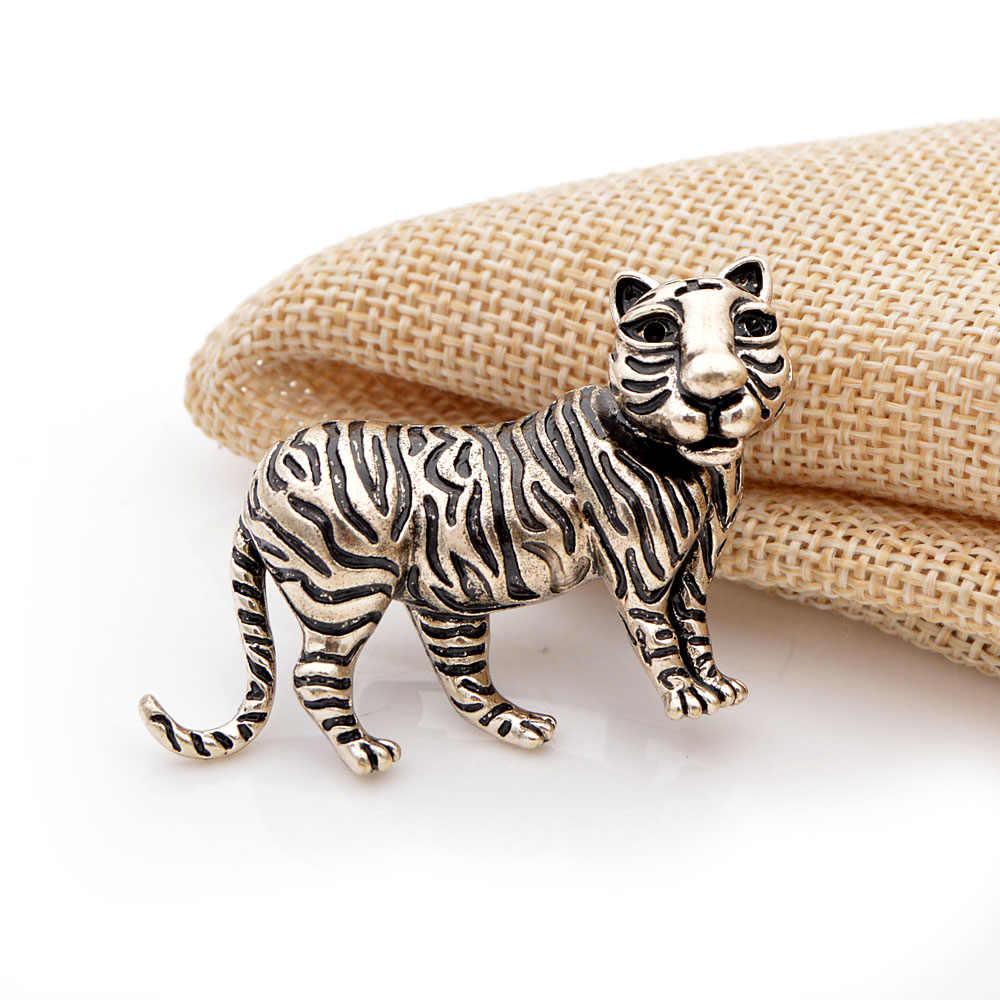 Cindy Xiang Baru Besar Hidup Tiger Bros untuk Wanita 3D Gaya Hewan Pin Vintage Fashion Perhiasan Keren Coat Aksesoris