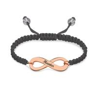 Wholesale Customized Engraved Infinity Symbol Cord Bracelet Rose Gold Color Infinity Bracelet Best Friends Jewelry