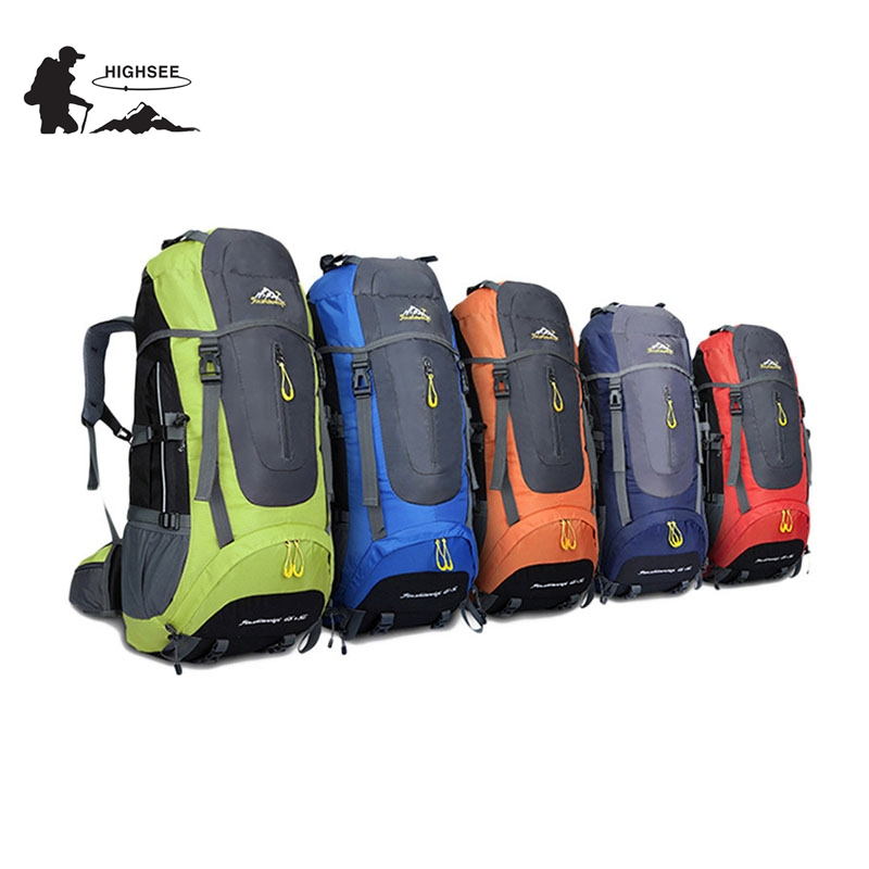 70L Waterproof HIGHSEE Camping hiking Climbing Waterproof Mountaineering Backpack Outdoor Travel Bags Hiking Backpack 5 Colors