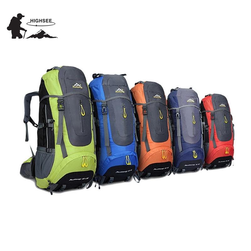 70L Waterproof HIGHSEE camping hiking Climbing Waterproof Mountaineering Backpack Outdoor Travel Bags Hiking Backpack 5 Colors
