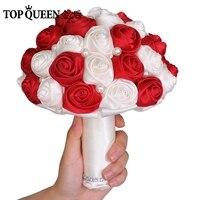 TOPQUEEN F4-WRDในสต็อกช่อดอกไม้งานแต่งงานด้วยประดิษฐ์ดอกกุหลาบดอกไม้เพื่อนเจ้าสาวช่อเจ้าสาวไวน์...