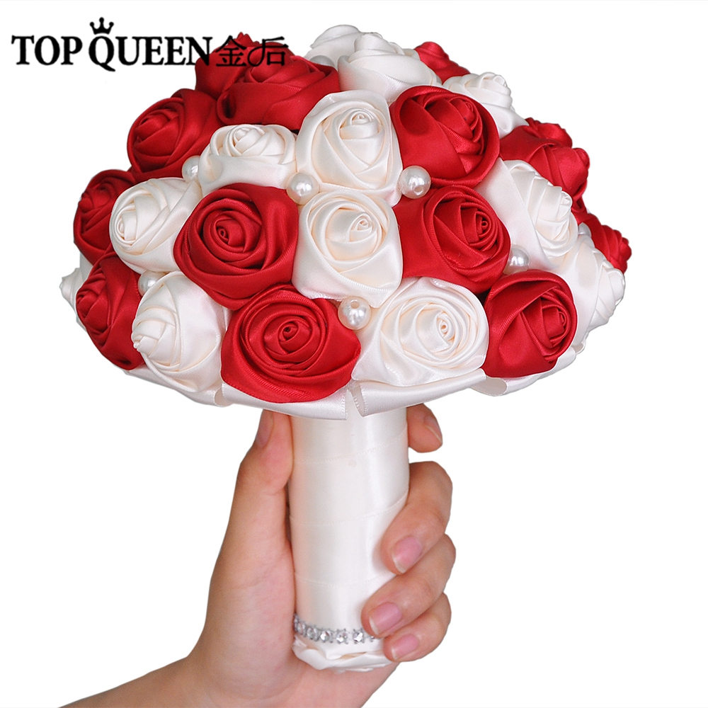 Topqueen F4 Wrd Flower Bride Wedding Bouquet With Artificial Rose