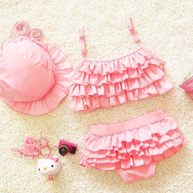 Baby Girl Swimsuit Bikini 2-Pieces Pink Purple Blue 1 2 3 4 5 6 7 8 9Year Infant Toddler Princess Swimwear Girls