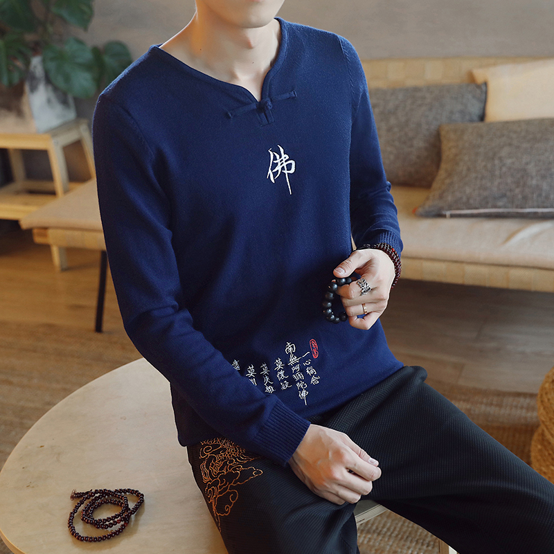 Chinese style Buddha embroidery Pull Homme Pullover Men spring autumn Casual sweater knit leisure Jersey Hombre Cotton v-neck 56