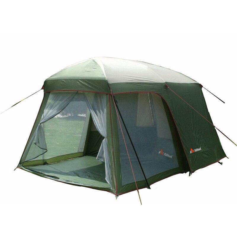 Ultralarge haute qualité un hall une chambre 5-8 personne double couche 200 cm hauteur imperméable camping tente dans grand prix de promotion