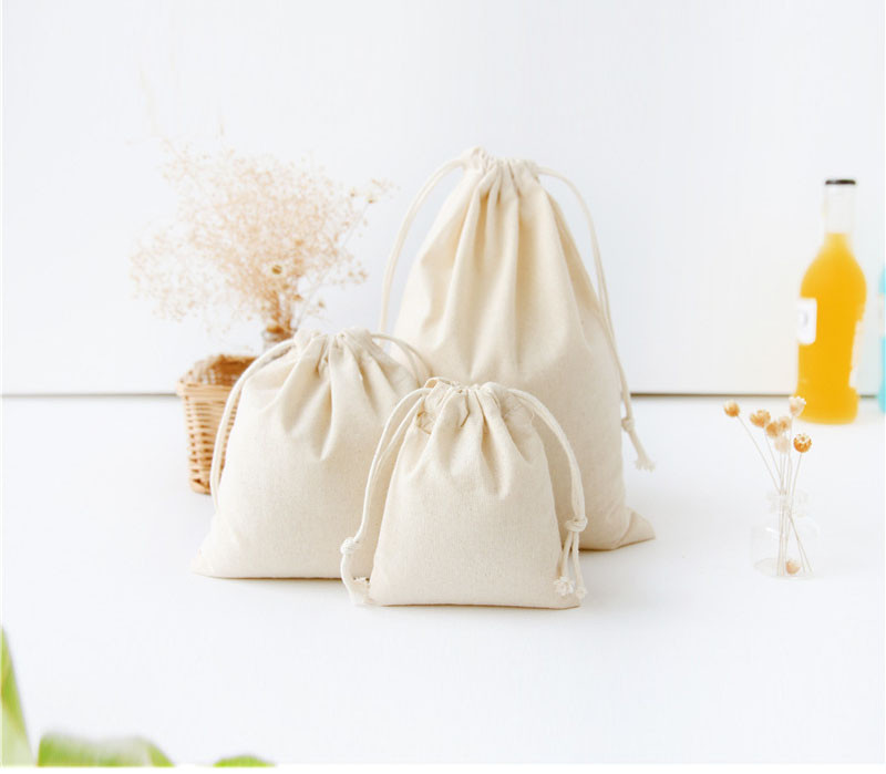 Solid Drawstring Bag Cotton Travel Portable Small Bags Kids Dolls Toys Package Home Storage Pouches Gift Bag Wholesale bolsas ...
