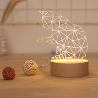 Creative Led table Night Light Lucky cat shape cute animal Lights Solid wood Nordic style indoor lighting Romantic indoor Lamp