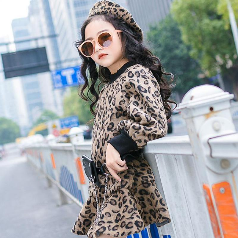 16f7018b12665 2019 Fashion Girls Woolen Dress Spring Winter Children's Leopard Dresses  For Girls Clothes Thicken Warm Kids Costumes 10 12 Year