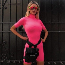 HEYounGIRL Turtleneck Elegant Playsuit Women Short Sleeve Bodycon Jumpsuit Streetwear Pink Ladies Jumpsuits Summer Spring 2019
