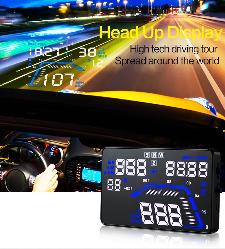 Universal Q7 5.5 Auto Car HUD GPS Head Up Display OBD II 2 Overspeed Warning Alarm Dashboard Windshield Project Speedometers-4