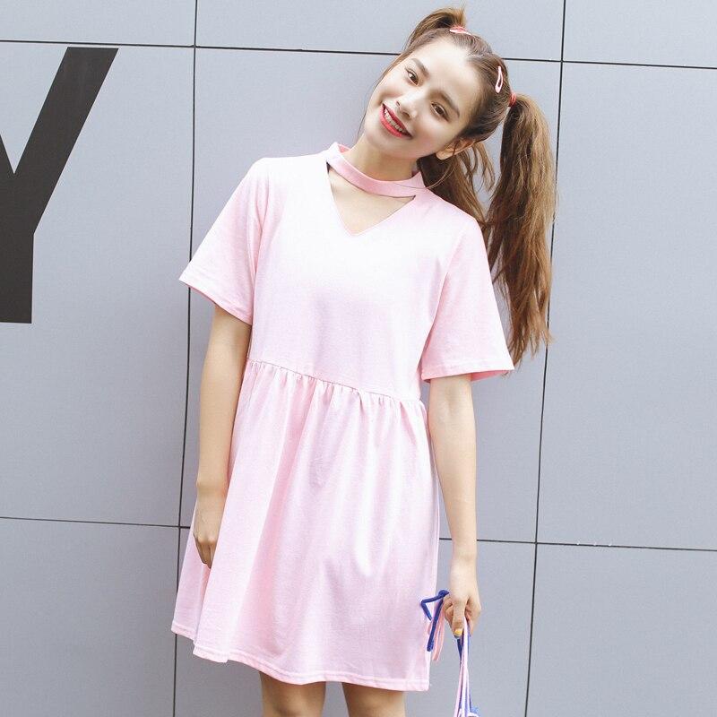 Cheap clothes china harajuku women dresses korean new kawaii cute rock summer dress 2016 pink ...