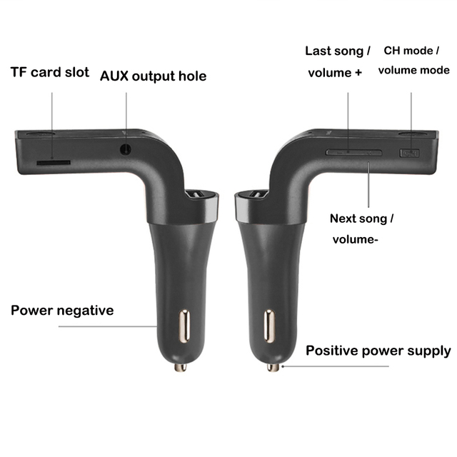 Bluetooth Handsfree Car Kit FM wireless transmitter MP3 music player USB 3.5mm audio cable connect support TF card USB charging 3