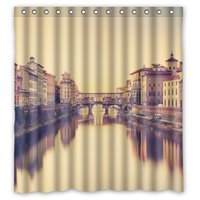 Unique and Generic Shower Vecchio florence italy river bridge Curtain Custom Printed Waterproof fabric Polyester Bath Curtain