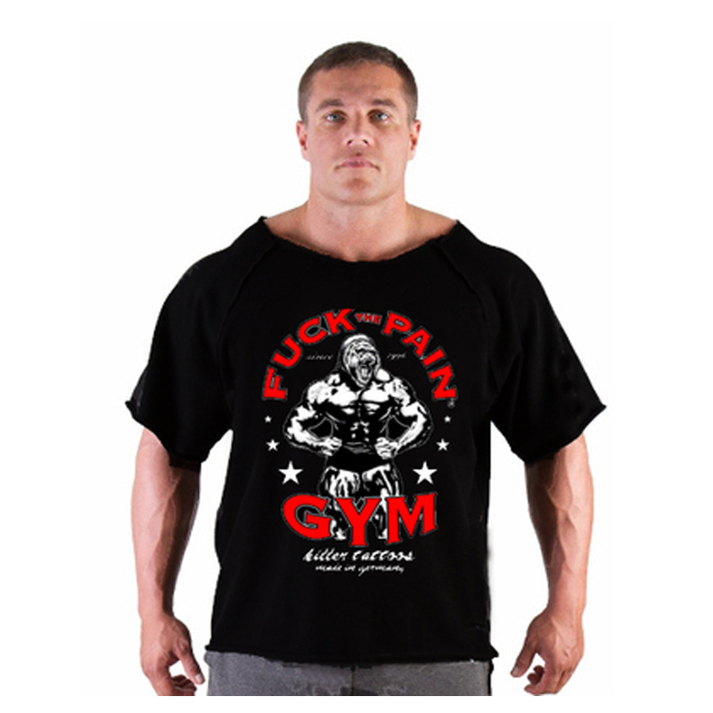 Bodybuilding new men golds t shirts fitness men muscle us for Gym printed t shirts