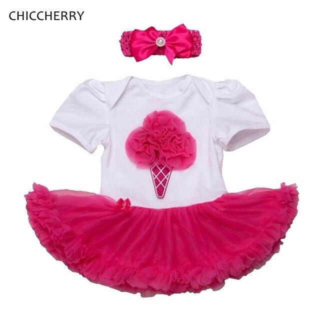Милые Ice Cream Lace Romper Dress Малышей Туту Устанавливает Элегантный Детские День Рождения Костюмы Повязка Vestido Menina Младенческие Одежды