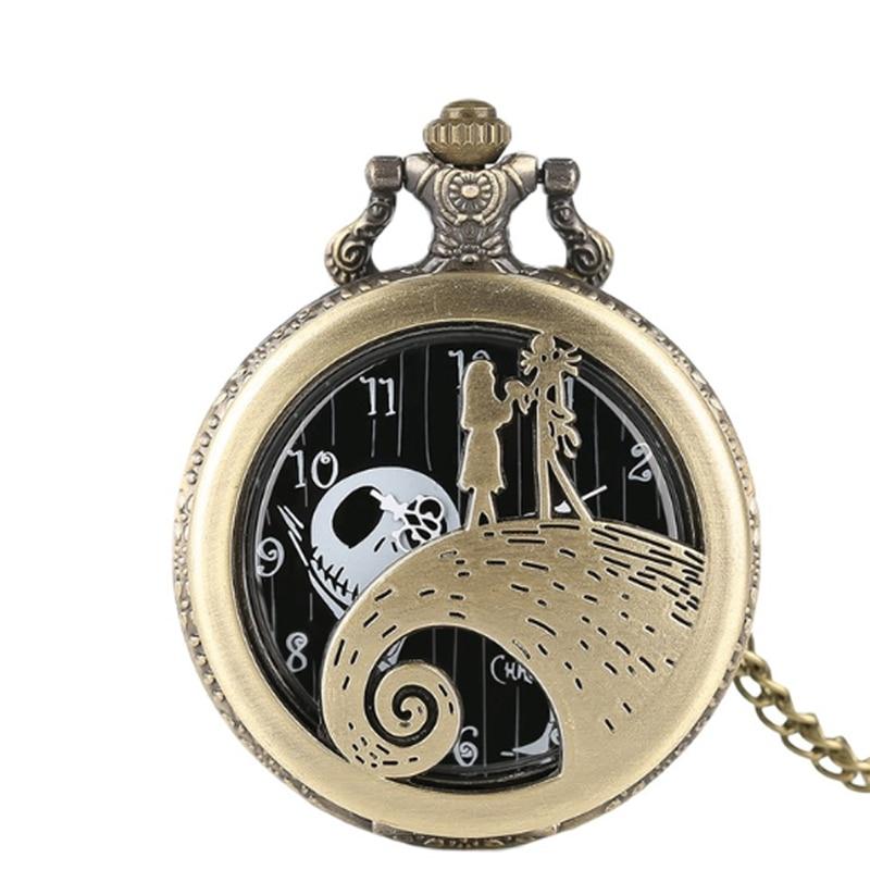 The Nightmare Before Christmas Jack Skellington Tim Burton Movie Theme Watches Fashion Quartz Pocket Watch Vintage Necklace Gift