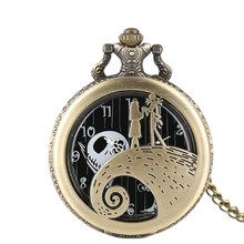 The Nightmare Before Christmas Martinetti Skellington Tim Burton di Film A Tema Orologi del Quarzo di Modo Della Vigilanza di Tasca Collane vintage Regalo(China)
