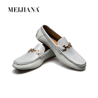 MEIJIANA 2018 New Men Casual Luxury Brand Summer Genuine Leather Boat Shoes Loafers Shoes