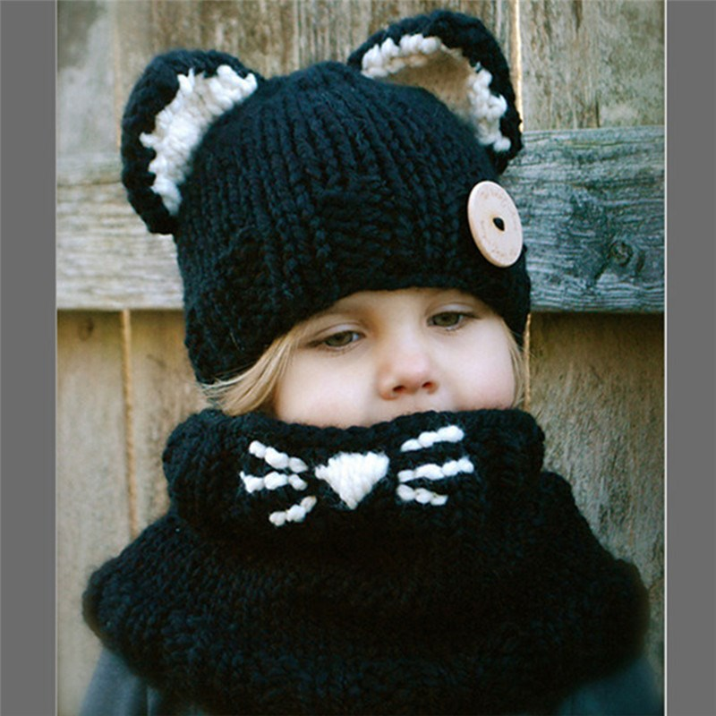 Fox And Cat Shape Crochet Hooded Baby Scarf Winter Cute Warm Neck Warp Head Scarf And