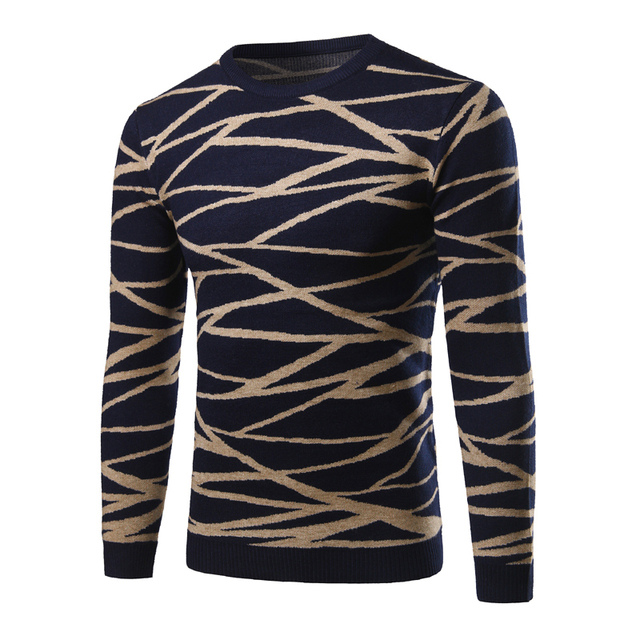 Men Warm Pullover Fashion Stripe Criss-Cross Pattern O-Neck Mens Sweaters Autumn Winter Slim Knitted Sweater pull hiver homme