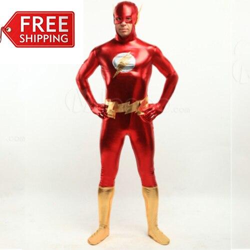 El Flash para hombre cosplay para adultos disfraces de halloween para hombre  Superhero body Zentai brillante carnaval traje de encargo en Disfraces  hombre ... f91ddcbeb6e