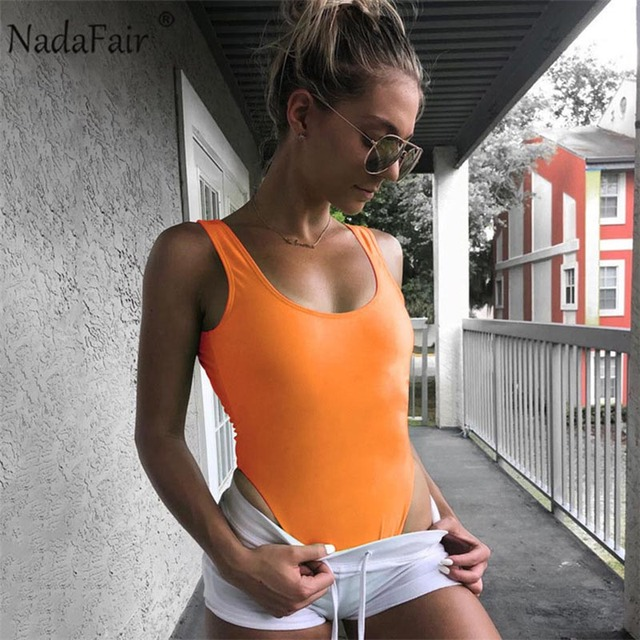 Nadafair Backless Summer Sexy Bodysuit Women U Neck Skinny Casual Tank Tops Body Suits For Women Rompers